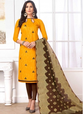 Embroidered Work Coffee Brown and Gold Trendy Straight Salwar Kameez