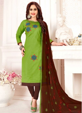 Embroidered Work Coffee Brown and Mint Green Trendy Churidar Salwar Kameez