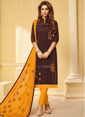 Embroidered Work Coffee Brown and Mustard Cotton Churidar Salwar Suit