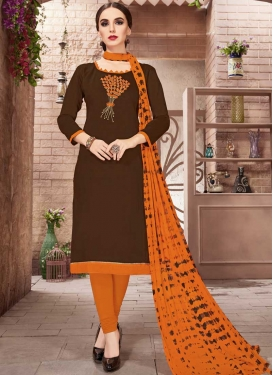 Embroidered Work Coffee Brown and Orange Churidar Salwar Suit