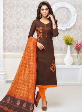 Embroidered Work Coffee Brown and Orange Cotton Silk Churidar Salwar Suit