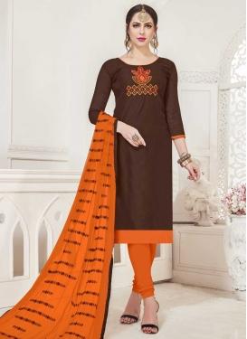 Embroidered Work Coffee Brown and Orange Cotton Trendy Churidar Salwar Kameez