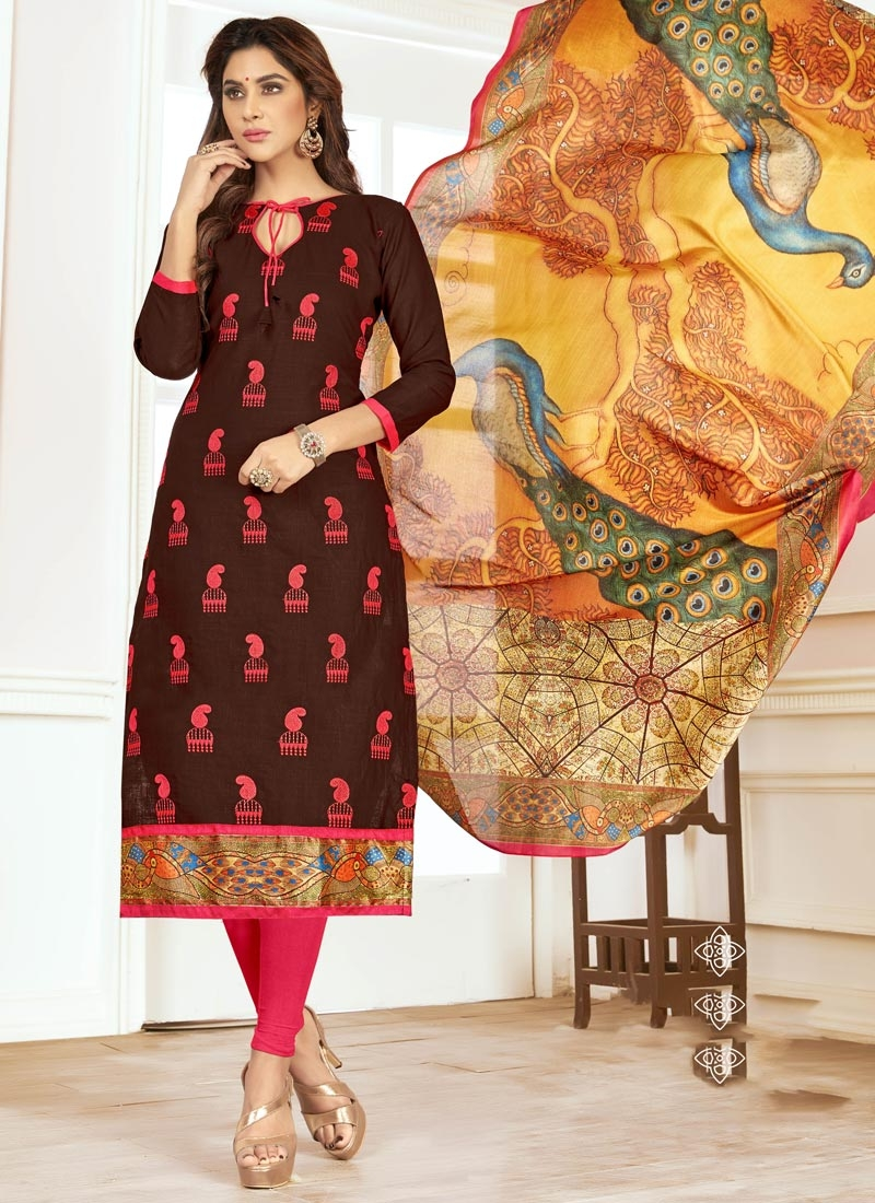 Embroidered Work Coffee Brown and Rose Pink Trendy Churidar Suit
