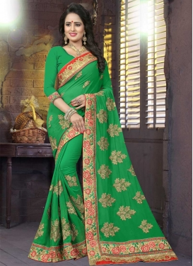 Embroidered Work Contemporary Saree