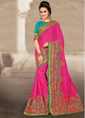 Embroidered Work Contemporary Saree For Festival