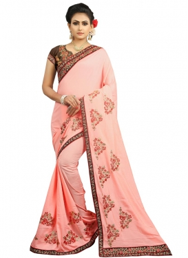 Embroidered Work Contemporary Style Saree For Festival