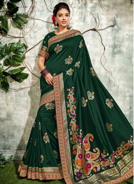 Embroidered Work Contemporary Style Saree For Party
