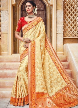 Embroidered Work Coral and Cream  Contemporary Saree