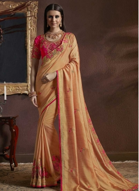 Embroidered Work Coral and Rose Pink Designer Contemporary Saree