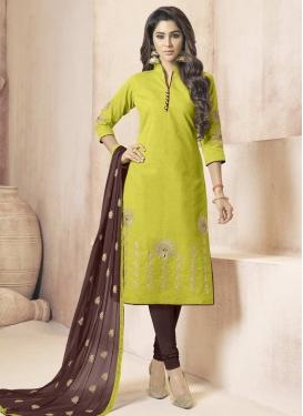 Embroidered Work Cotton Aloe Veera Green and Coffee Brown Trendy Churidar Salwar Kameez