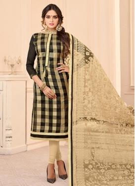 Embroidered Work Cotton Beige and Black Trendy Churidar Salwar Kameez