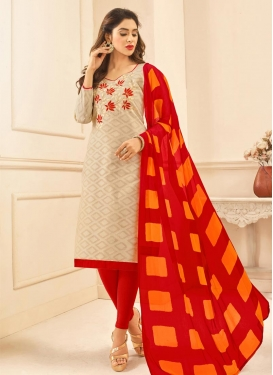 Embroidered Work Cotton Beige and Red Trendy Straight Salwar Kameez