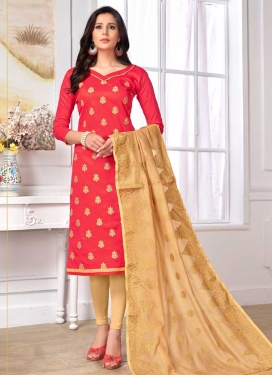 Embroidered Work Cotton Beige and Rose Pink Trendy Churidar Salwar Suit