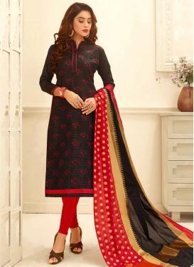 Embroidered Work Cotton Black and Red Churidar Salwar Kameez