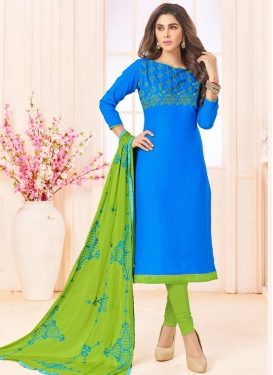 Embroidered Work Cotton Blue and Mint Green Trendy Churidar Suit
