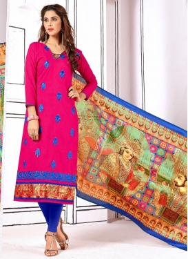 Embroidered Work Cotton Blue and Rose Pink Trendy Churidar Salwar Kameez