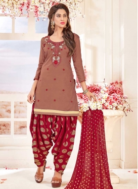 Embroidered Work Cotton Brown and Crimson Semi Patiala Salwar Kameez