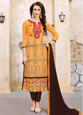 Embroidered Work Cotton Coffee Brown and Orange Trendy Churidar Salwar Kameez