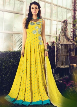 Embroidered Work Cotton Floor Length Salwar Kameez