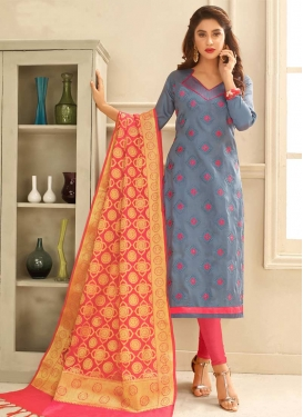 Embroidered Work Cotton Grey and Hot Pink Trendy Churidar Salwar Suit