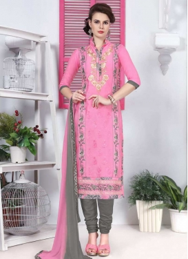 Embroidered Work Cotton Grey and Pink Churidar Salwar Kameez