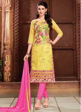 Embroidered Work Cotton Hot Pink and Yellow Trendy Churidar Salwar Kameez