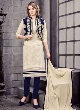 Embroidered Work Cotton Jacket Style Salwar Kameez