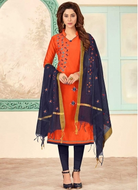 Embroidered Work Cotton Navy Blue and Orange Trendy Churidar Salwar Suit