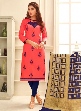 Embroidered Work Cotton Navy Blue and Rose Pink Trendy Churidar Salwar Suit