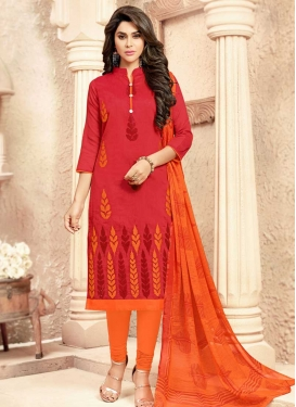 Embroidered Work Cotton Orange and Rose Pink Trendy Churidar Salwar Suit