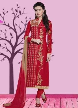 Embroidered Work Cotton Pakistani Straight Suit