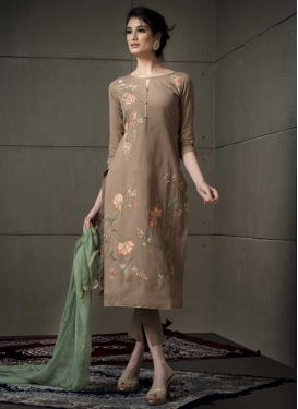 Embroidered Work Cotton Pant Style Straight Suit