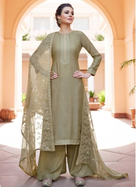 Embroidered Work Cotton Satin Palazzo Style Pakistani Salwar Kameez