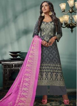Embroidered Work Cotton Satin Palazzo Style Pakistani Salwar Suit