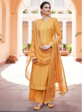Embroidered Work Cotton Satin Palazzo Style Pakistani Salwar Suit