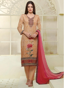 Embroidered Work Cotton Satin Pant Style Straight Salwar Kameez