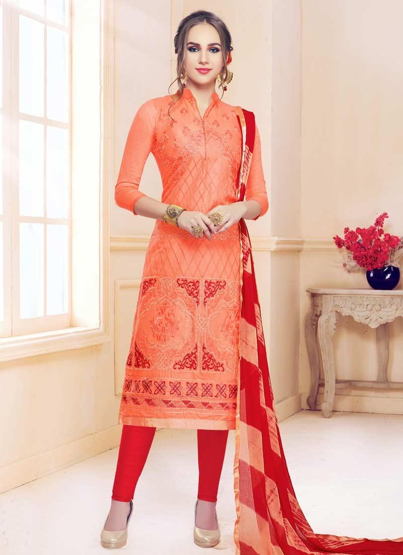 Embroidered Work Cotton Satin Trendy Churidar Salwar Kameez
