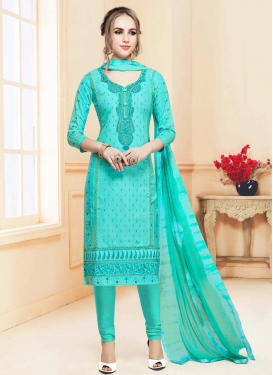 Embroidered Work Cotton Satin Trendy Straight Salwar Suit