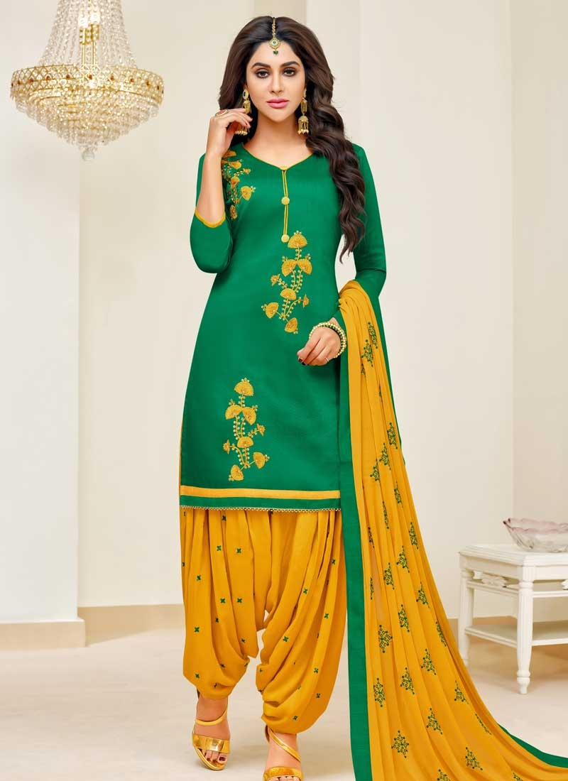 54fb1854e27 Shop Embroidered Work Cotton Semi Patiala Salwar Suit Online