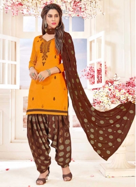 Embroidered Work Cotton Semi Patiala Suit