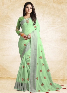 Embroidered Work Cotton Silk Contemporary Style Saree