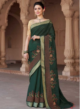 Embroidered Work Cotton Silk Designer Contemporary Style Saree