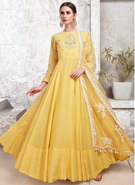 Embroidered Work Cotton Silk Readymade Classic Gown
