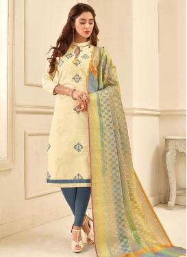 Embroidered Work Cream and Grey Churidar Salwar Kameez