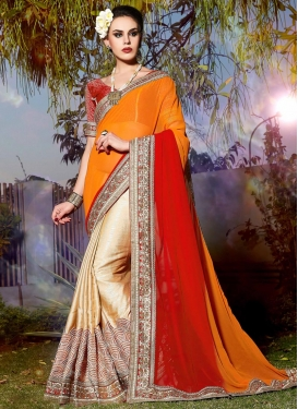 Embroidered Work Cream and Orange Half N Half Trendy Saree