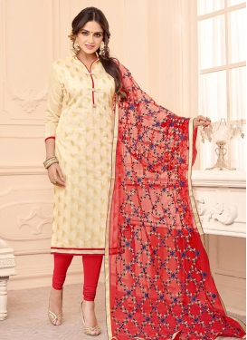 Embroidered Work Cream and Red Churidar Salwar Suit