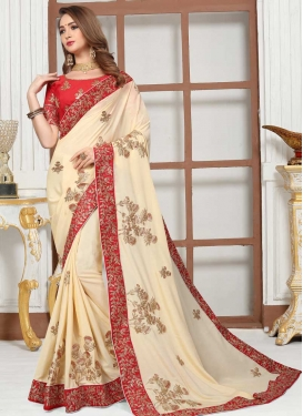Embroidered Work Cream and Red Traditional Saree