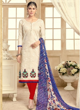 Embroidered Work Cream and Red Trendy Churidar Salwar Kameez