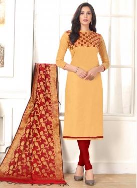 Embroidered Work Cream and Red Trendy Churidar Salwar Kameez