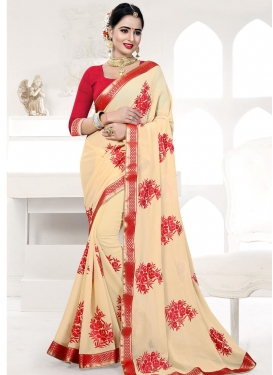 Embroidered Work Cream and Red Trendy Classic Saree